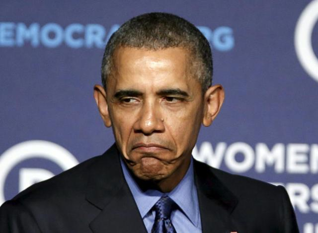 US President Obama impersonates Grumpy Cat at Democratic National Committee's Women's Leadership Forum's conference in Washington